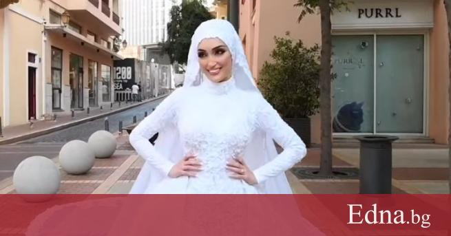 Сияеща в красива бяла рокля, 29-годишната Себлани от Ливан позира