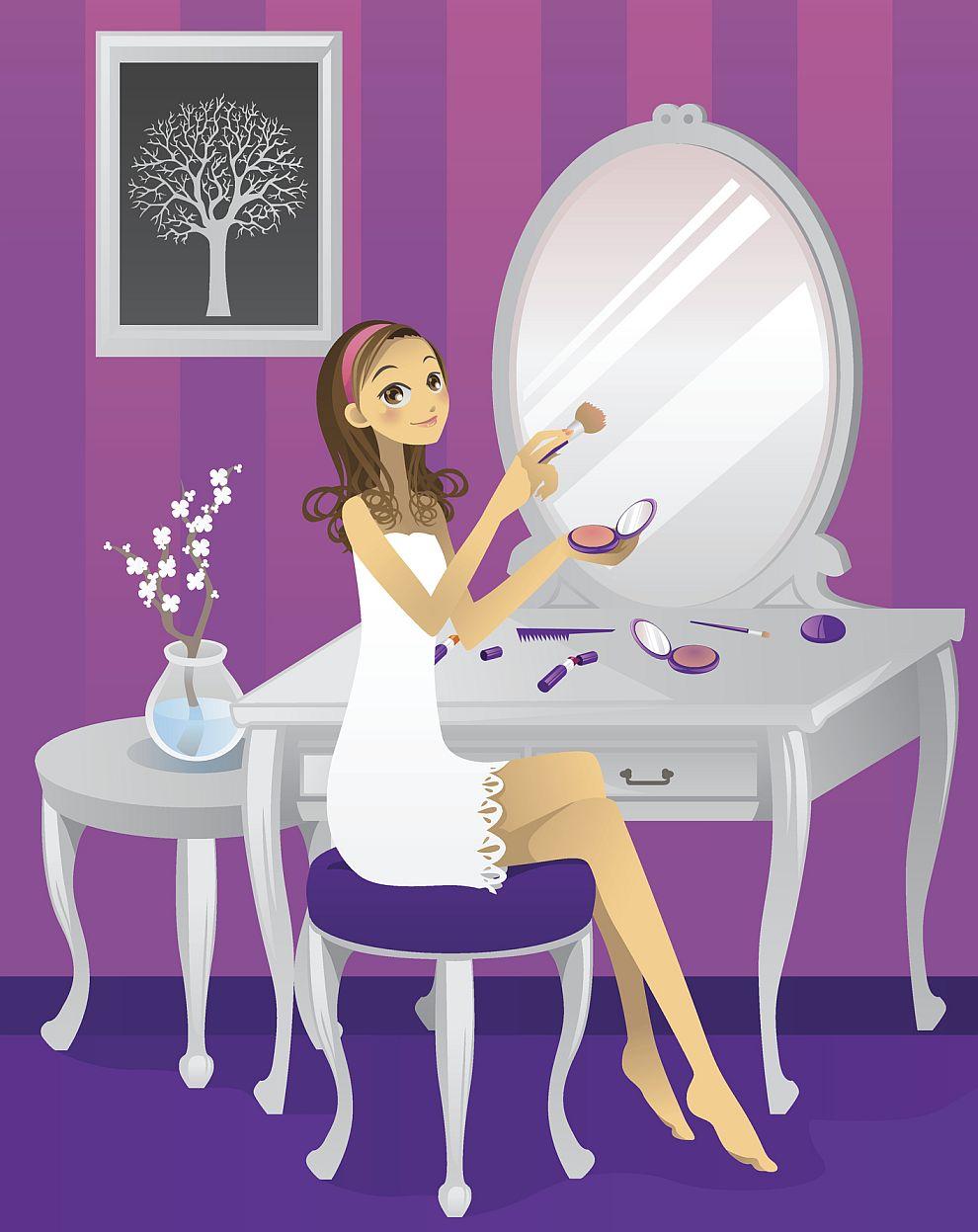 огледало грим жена