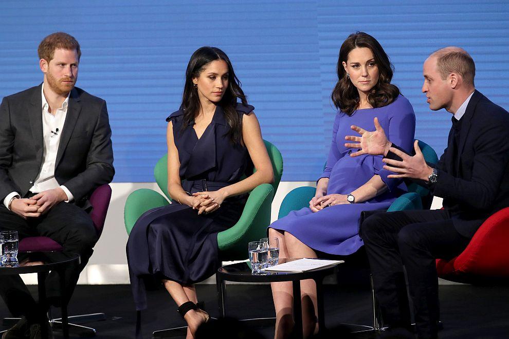 Принц Хари, Меган Маркъл, херцогиня Катрин и принц Уилям